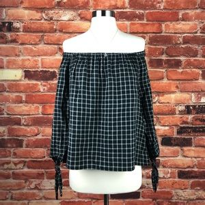 NWT Madewell Plaid Off Shoulder Top, M